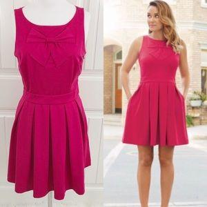 LC Lauren Conrad Bright Pink Sleeveless Bow Dress